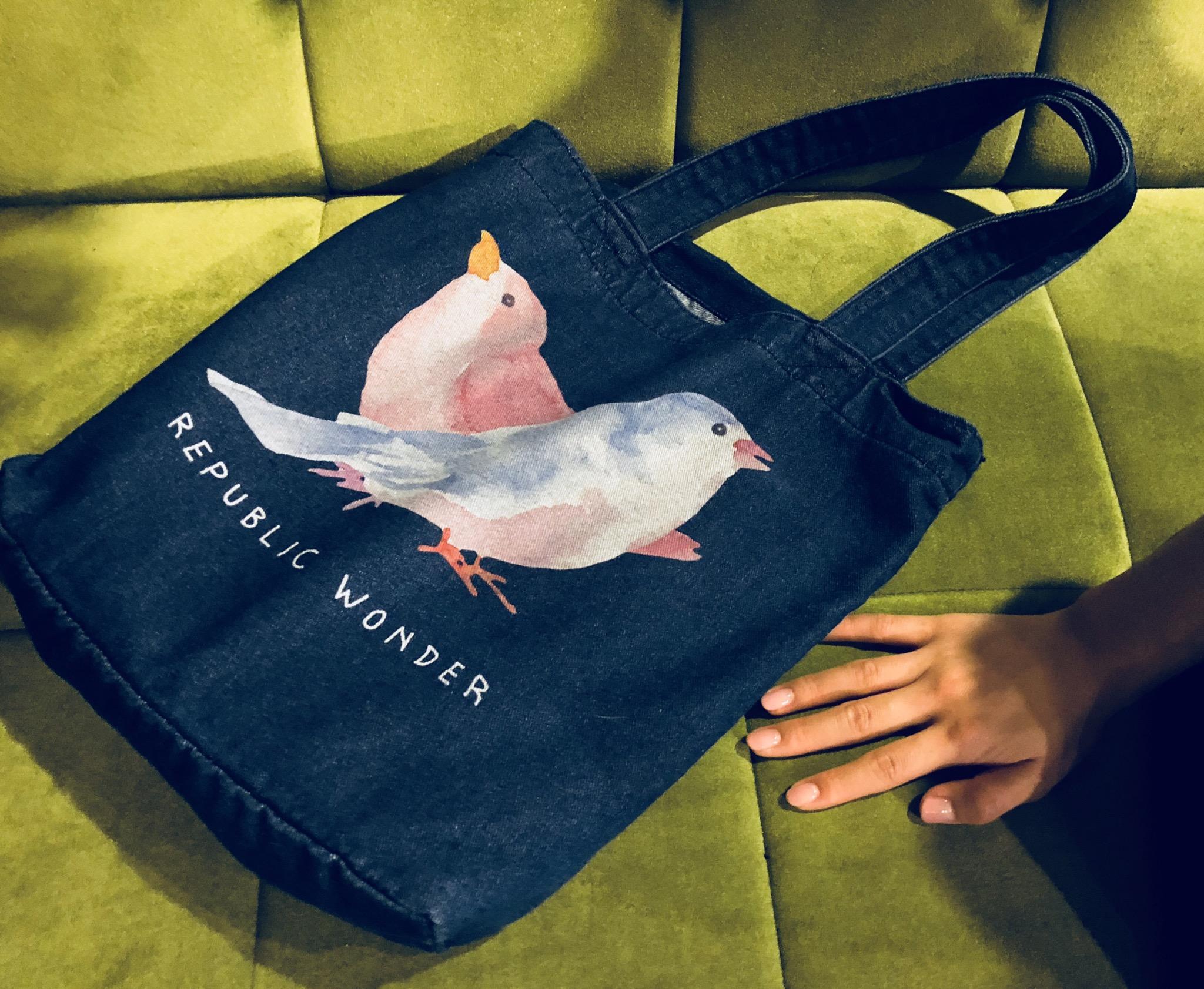 REPUBLIC WONDER(リパブリックワンダー)  BIRDS デニムトート(ダーク)