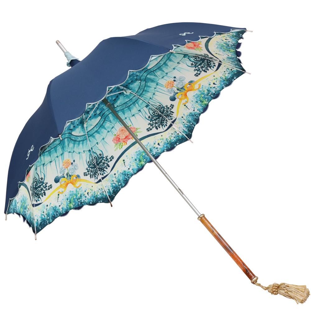【いとうあつき コラボ】花のゆりかご | パゴダ傘・レディース・晴雨兼用・UVカット