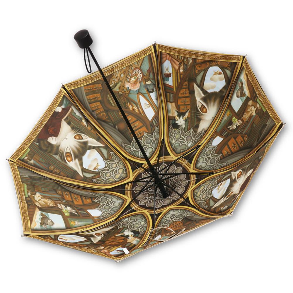 わちふぃーるど×ルミエーブル 理想の図書館 ver. | パゴダ傘・完全遮光・晴雨兼用・ミニ折りたたみ傘