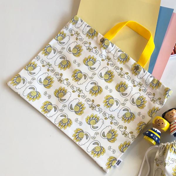 【送料無料】入園入学グッズ3点セット(レッスンバッグ・シューズバッグ・巾着小) / Pikkulinnut ピックリンツ(イエロー)