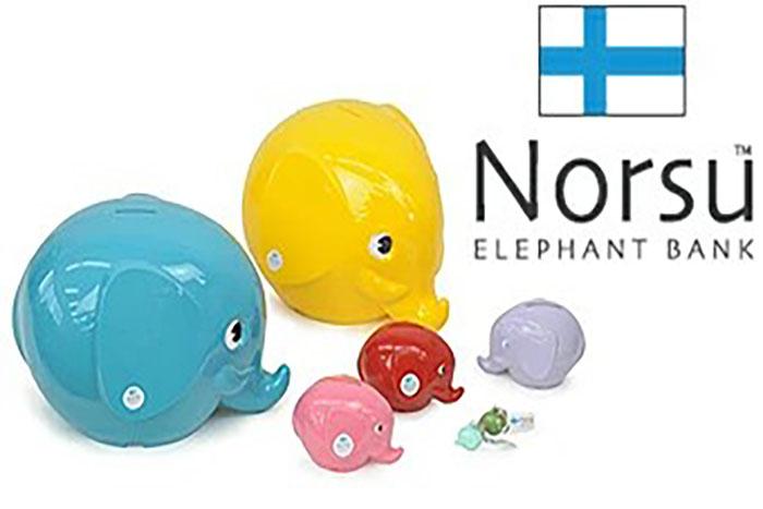 Norsu ノルス ぞうさん貯金箱♪ エレファントバンク Sサイズ ピュアライトブルー ■
