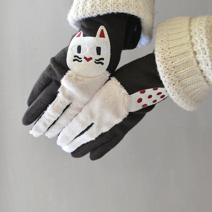 Leena Kisonen レーナ・キソネン 手袋 フルフィンガー白猫/ブラウン