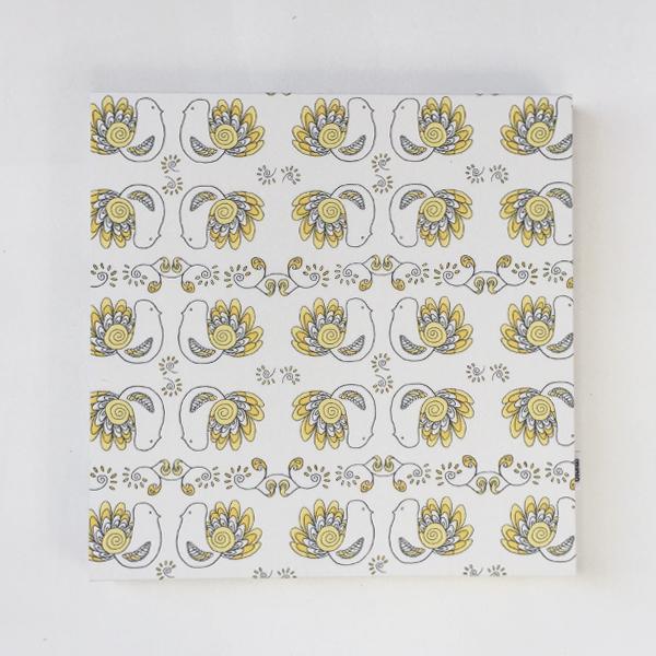 ★LD ORDER★ ファブリックパネル:Pikkulinnut ピックリンツ (イエロー)30×30cm