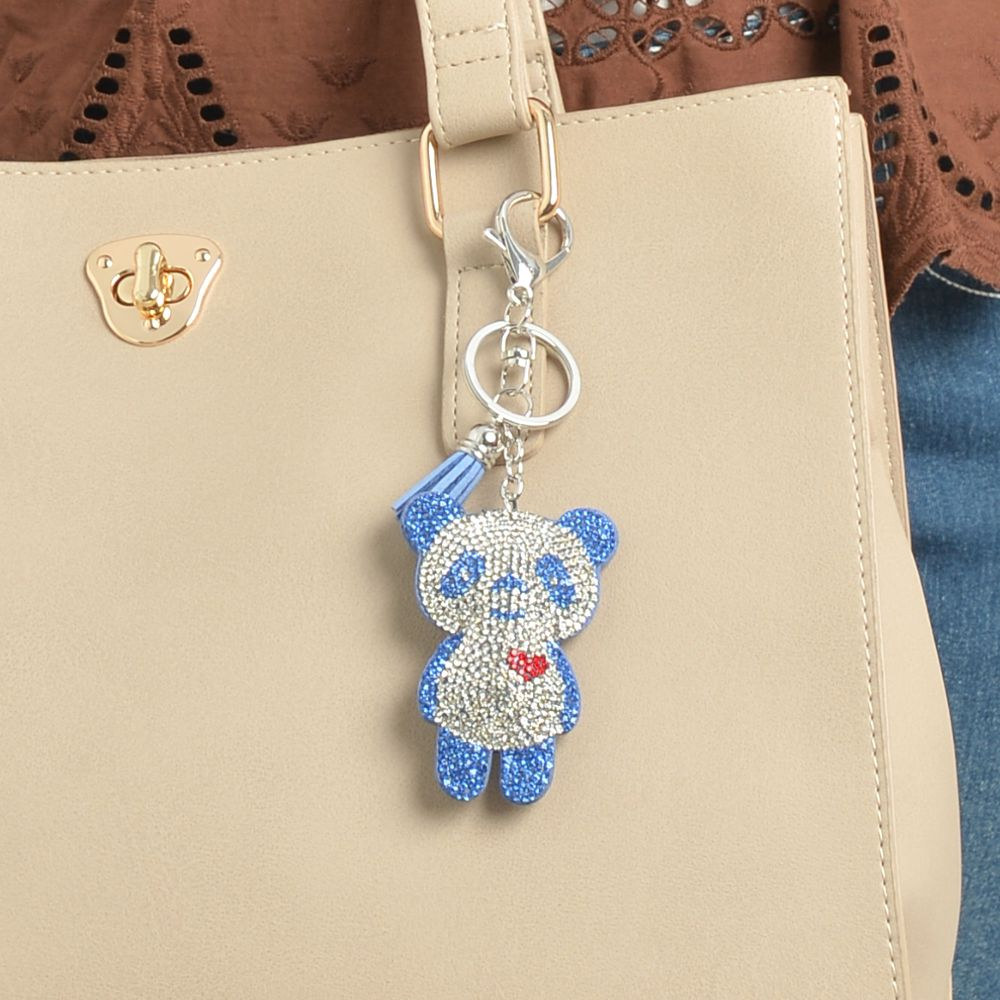 キーホルダー バッグチャーム パンダ 大熊猫 ハート キラキラ 青 ブルー レディース プレゼント Z