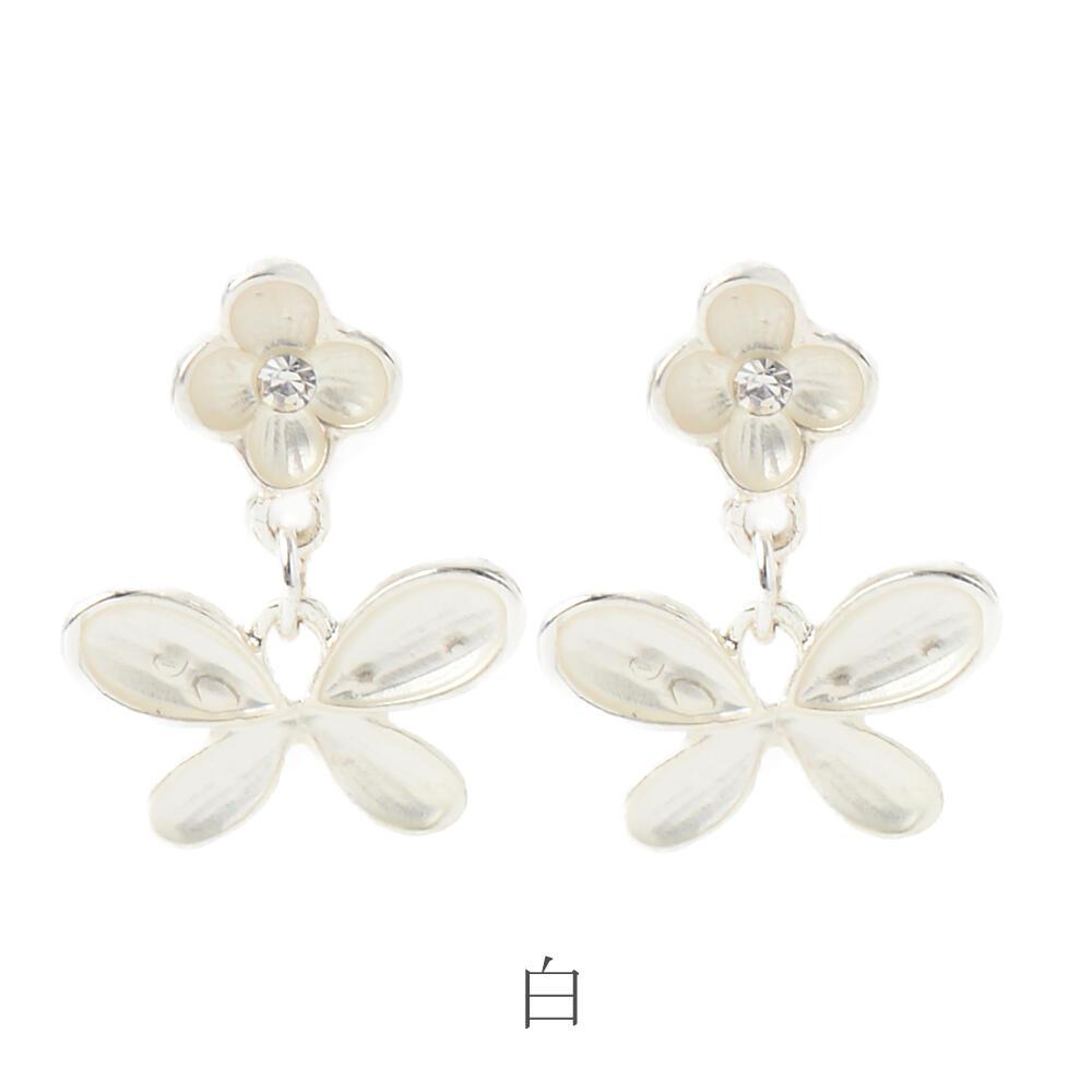 ピアス レディース メタル フラワー 花 蝶々 ちょうちょ パステルカラー 白 マットカラー PI