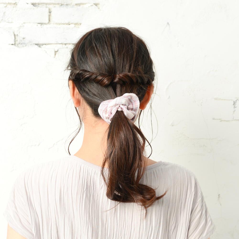 シュシュ ヘアアクセサリー ヘアアクセ レディース チェック柄 ピンク 青 白 可愛い まとめ髪 H