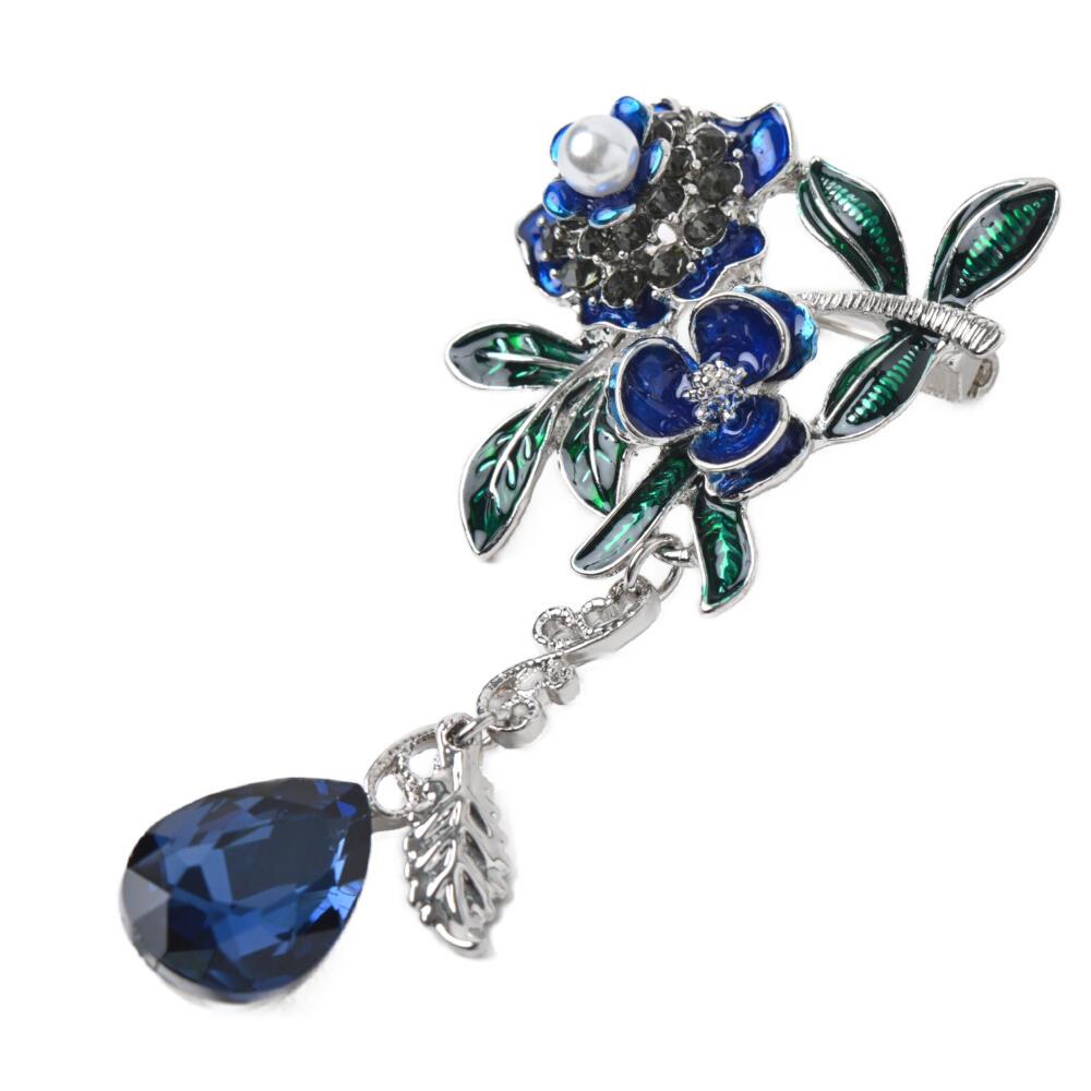 ブローチ レディース ビジュー 揺れる 花 フラワー 青 ブルー 葉っぱ リーフ パール プレゼント B