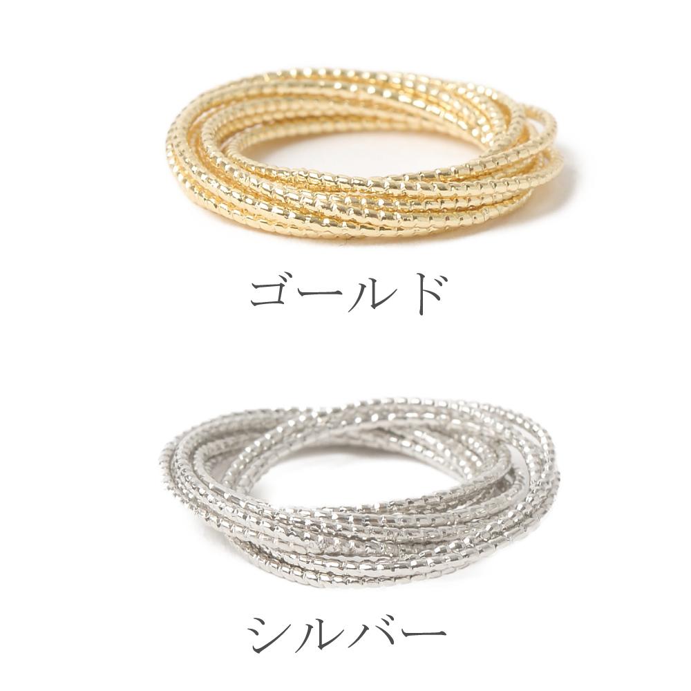 指輪 レディース リング ピンキーリング ゴールド シルバー 多連 重ね付け風 10連リング N