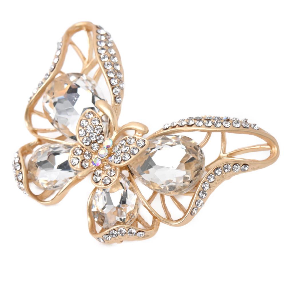 ブローチ ちょうちょ 蝶々 ビジュー キラキラ ラインストーン メタル ゴールド 豪華 高見え B