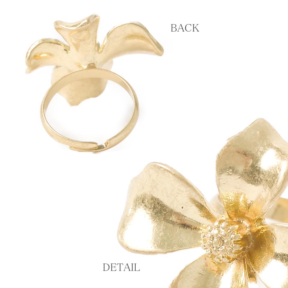 指輪 レディース リング 艶消し ゴールド シルバー 花 フラワー 幅広 シンプル マットカラー N