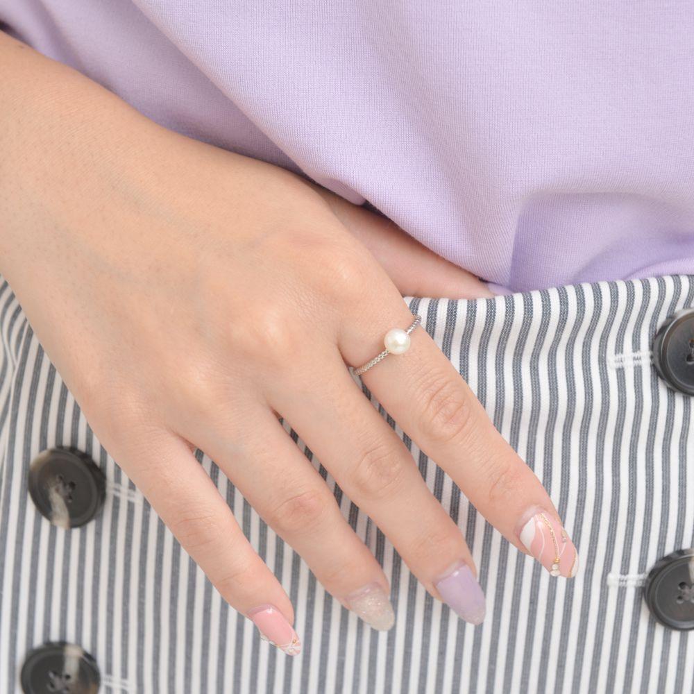 指輪 レディース 淡水パール シルバー メタル シンプル 1粒 重ね着け 人気 上品 P