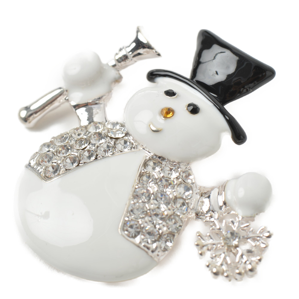 クリスマス ブローチ 雪だるま ゆきだるま スノーマン 雪 雪の結晶 シルバー プレゼント 帽子 ハット B