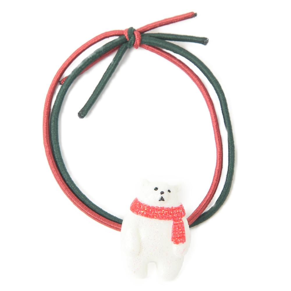 クリスマス ヘアゴム ヘアアクセサリー ヘアアクセ しろくま シロクマ 白熊 冬 レディース H