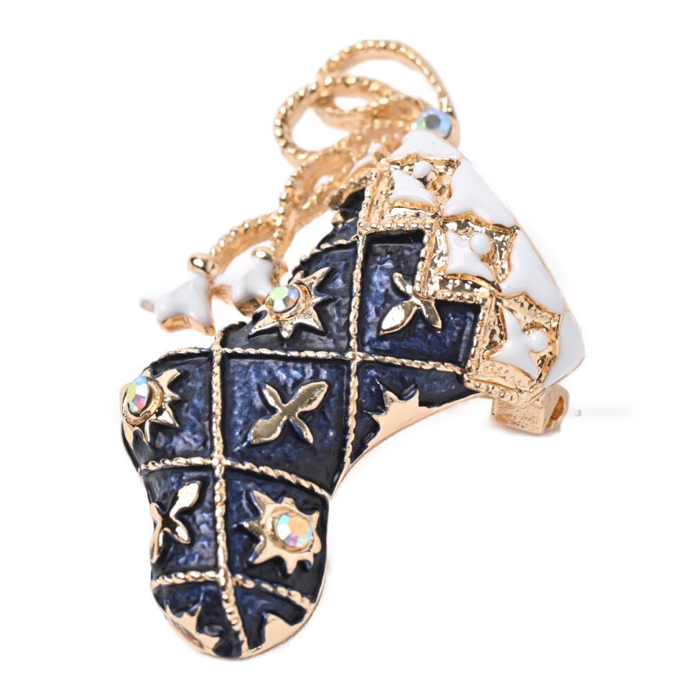クリスマス ブローチ ブーツ サンタブーツ 青 赤 メタル ゴールド キラキラ プレゼント B