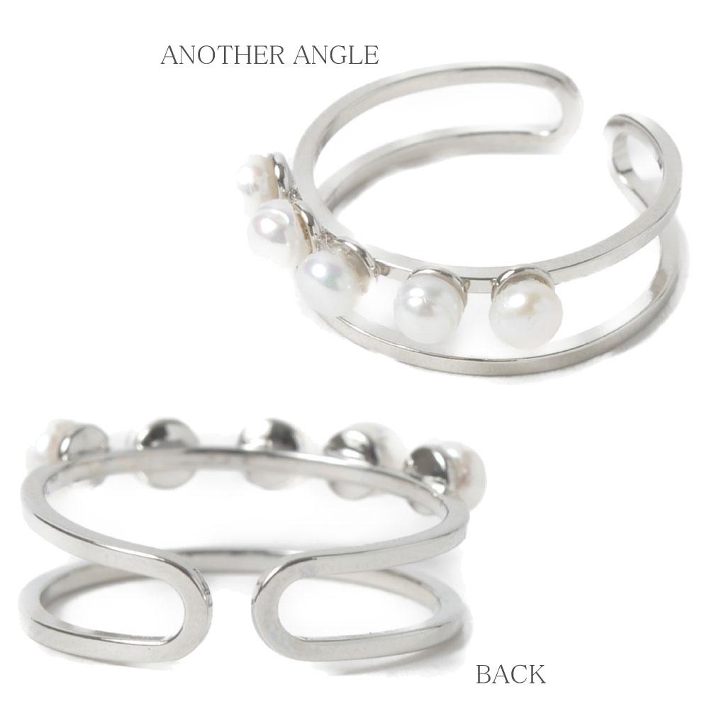 指輪 レディース 淡水パール シルバー メタル ダブルリング 5粒 重ね着け 人気 上品 P
