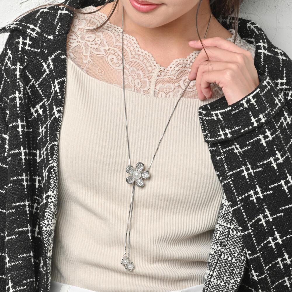 ネックレス レディース 花  フラワーパール キラキラ ラインストーン メタル シルバー スライダー N