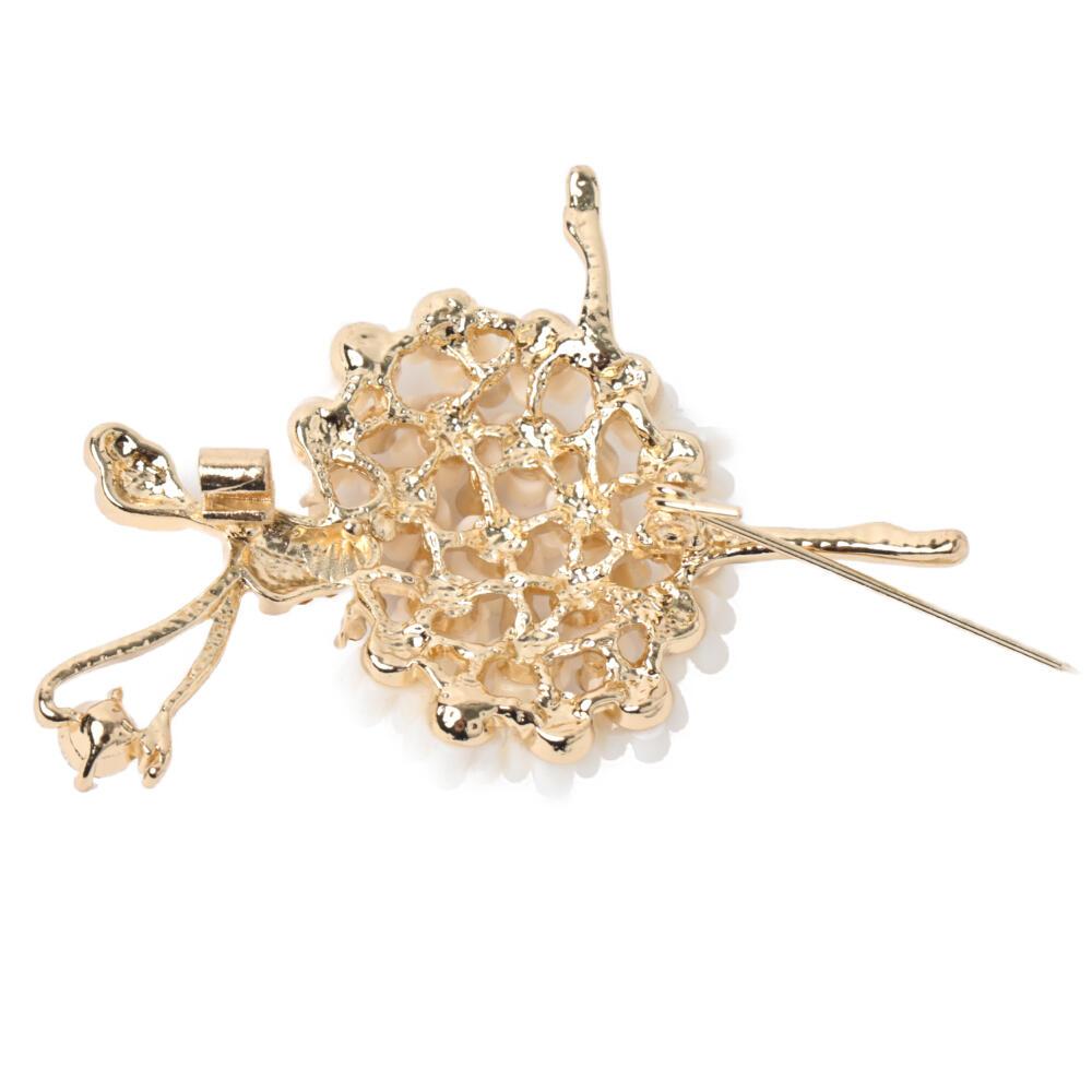 ブローチ バレリーナ 踊り子 女の子 花 フラワー キラキラ ゴールド メタル 可愛い プレゼント B
