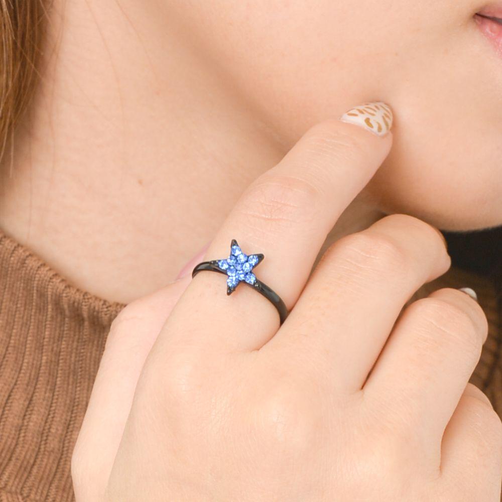 指輪 レディース 星 ほし スター ホシ パヴェ キラキラ シルバー 青 グレー フリーサイズ N