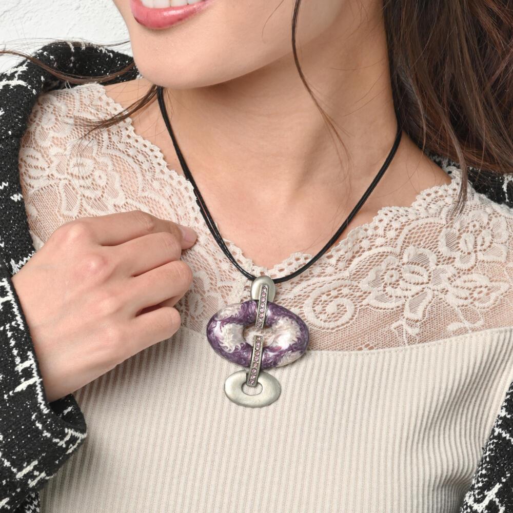 ネックレス ペンダント レディース 紫 パープル キラキラ ラインストーン メタル 個性的  マーブル N
