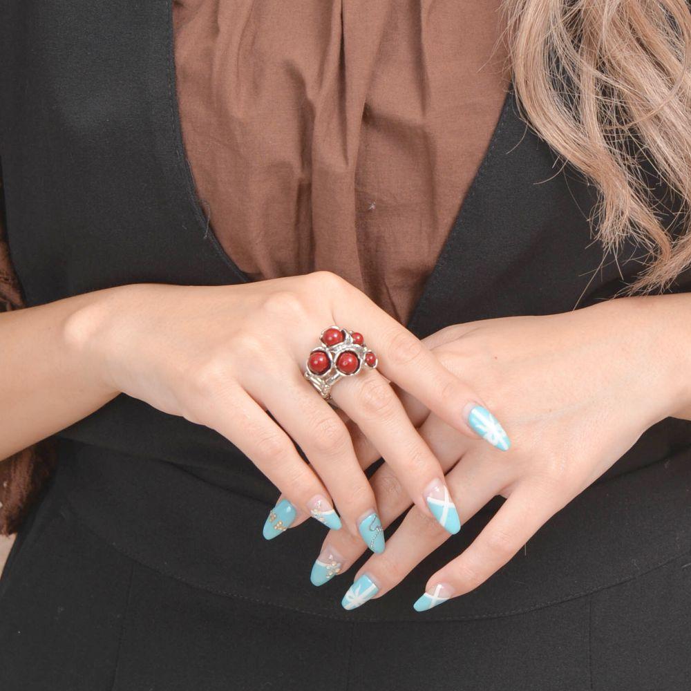 指輪 レディース フリーサイズ 赤 血赤珊瑚風 珊瑚風 真紅 シルバー ゴムリング R