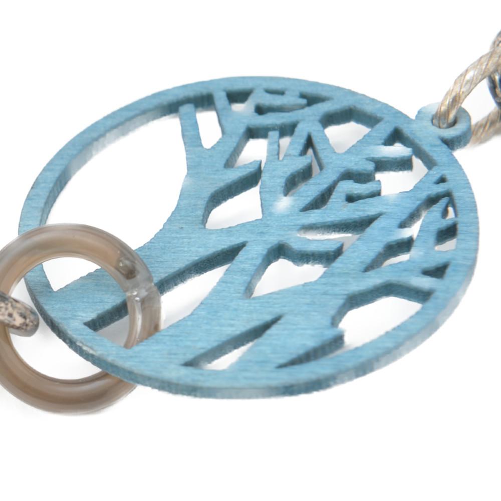 ネックレス ウッド 木 ツリー 天然素材 青 ブルー くすみカラー ダスティカラー 金属アレルギー N