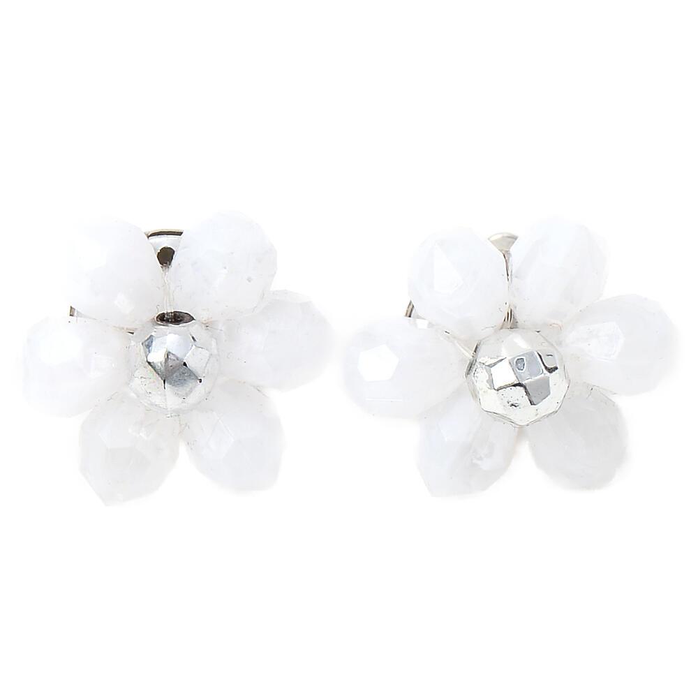 ピアス レディース 花 フラワー 白 ホワイト ワンカラー フェミニン 可愛い ガーリー PI