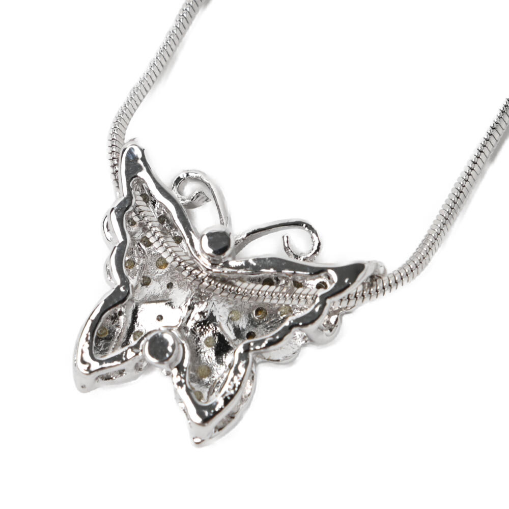 ネックレス レディース 蝶々 ちょうちょ バタフライ キラキラ ラインストーン メタル シルバー N
