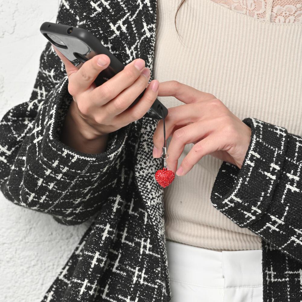 ストラップ キーホルダー レディース パヴェ キラキラ ラインストーン ハート 赤 携帯 鍵 可愛い Z