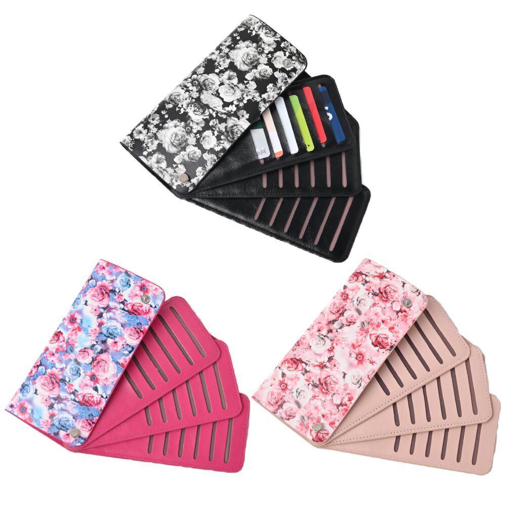 カードケース カード入れ レディース 大容量 スライド 薔薇 ローズ バラ 花 フラワー ピンク 黒 Z