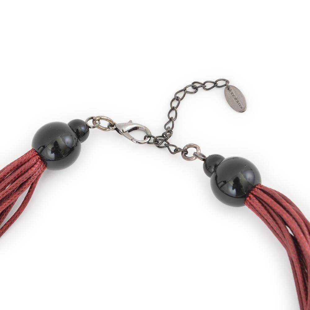 天然素材 ブラックウッドリングのレッドダイヤネックレス N