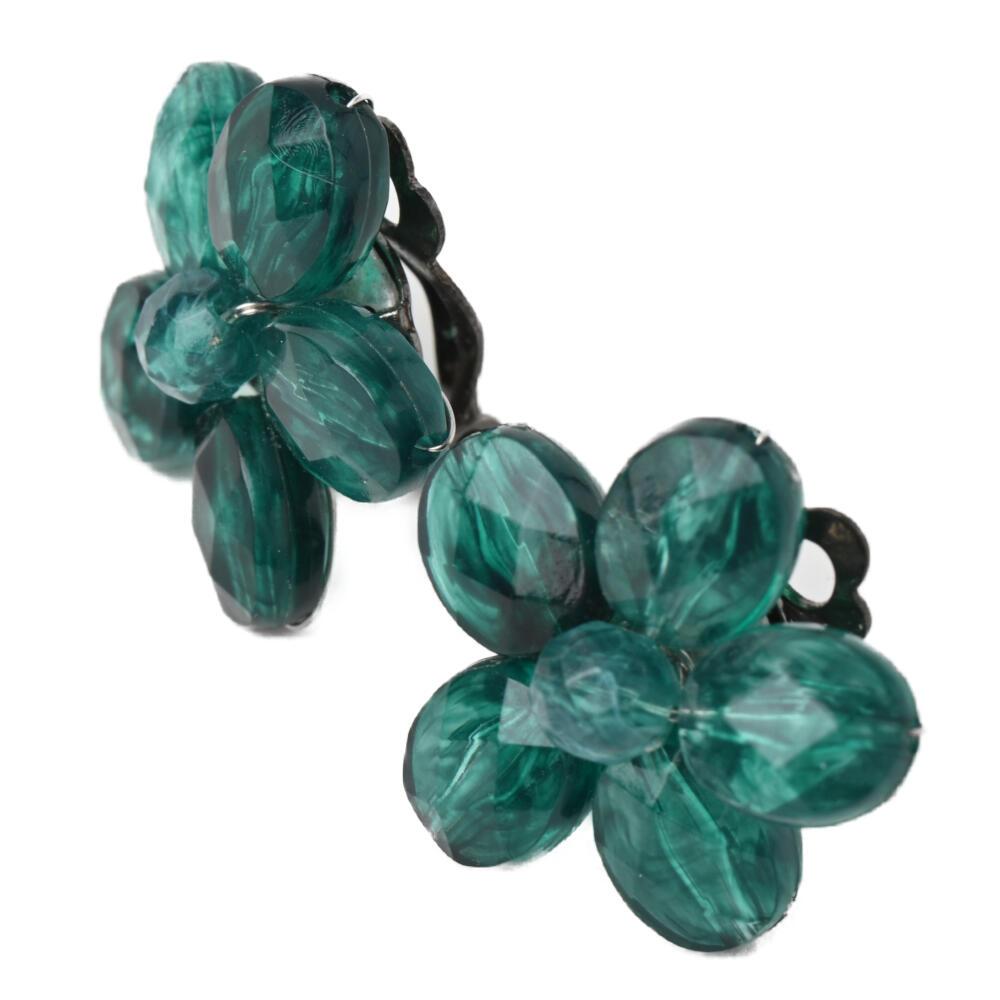 イヤリング レディース 花 フラワー クリア 緑 グリーン 可愛い フェミニン ガーリー E