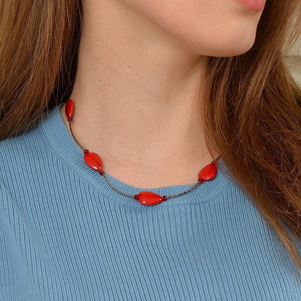 ネックレス 日本製 赤 珊瑚色 血赤 黒 バイカラー 磁石 マグネット シェル 貝 パイプ メタル N