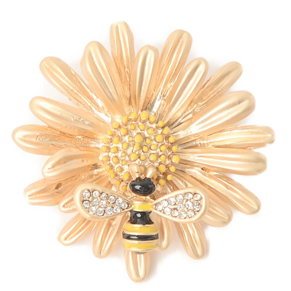 ブローチ 蜂 ハチ はち 昆虫 フラワー 花 メタル 艶消し ゴールド レディース B