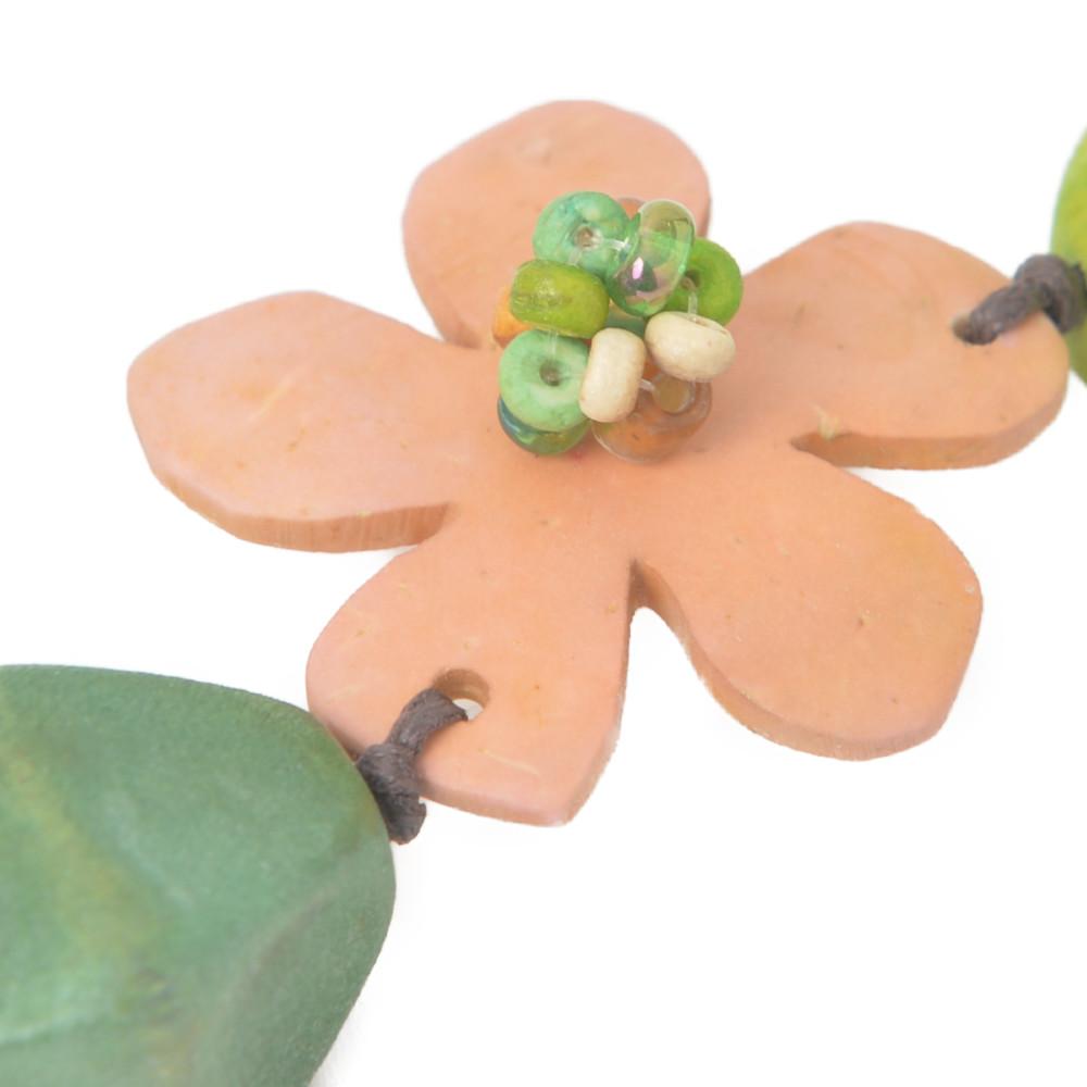 ネックレス レディース ウッド 木 フラワー 花 緑 グリーン アシンメトリー 天然素材 N