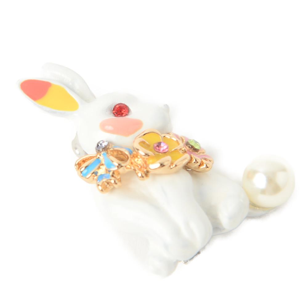 ブローチ 白うさぎ うさぎ ウサギ 兎 ラパン ラビット 動物 フラワー花 パール レディース B