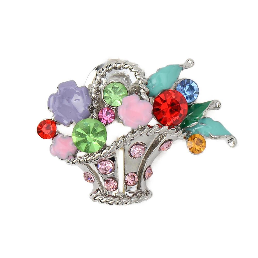 ピンバッチ ラペルピン ピンブローチ フラワー 花 花かご カラフル マルチカラー キラキラ B