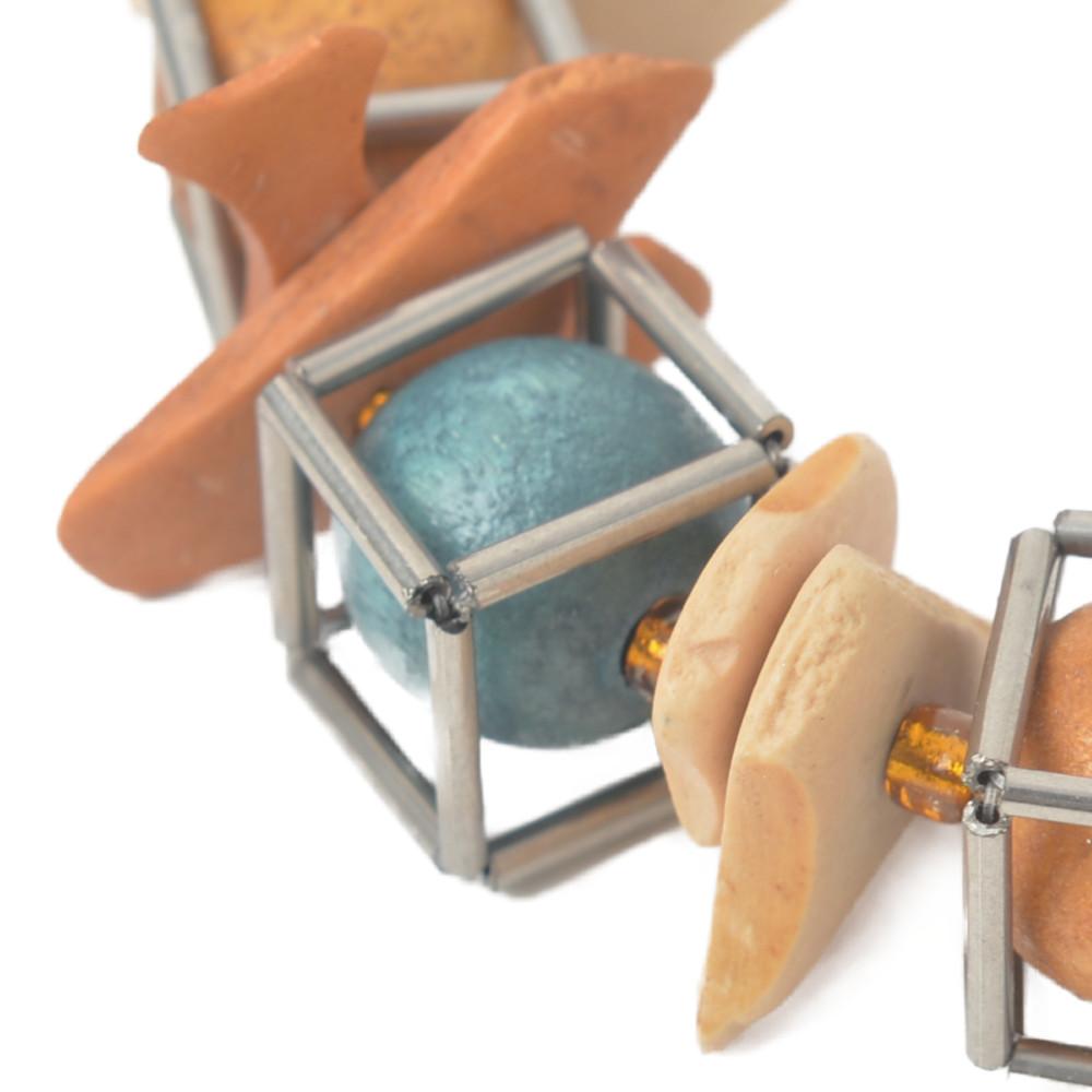 ネックレス レディース ウッド 木 ウッドボール ケージ ブラウン オレンジ 天然素材 カジュアル N