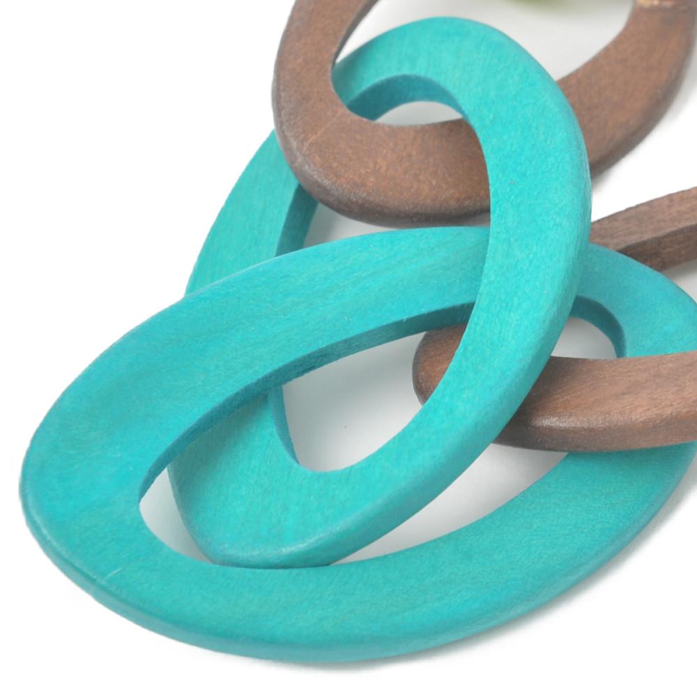ネックレス レディース ウッド 木 青 ブルー 緑 グリーン リング繋ぎ 大ぶり カジュアル N