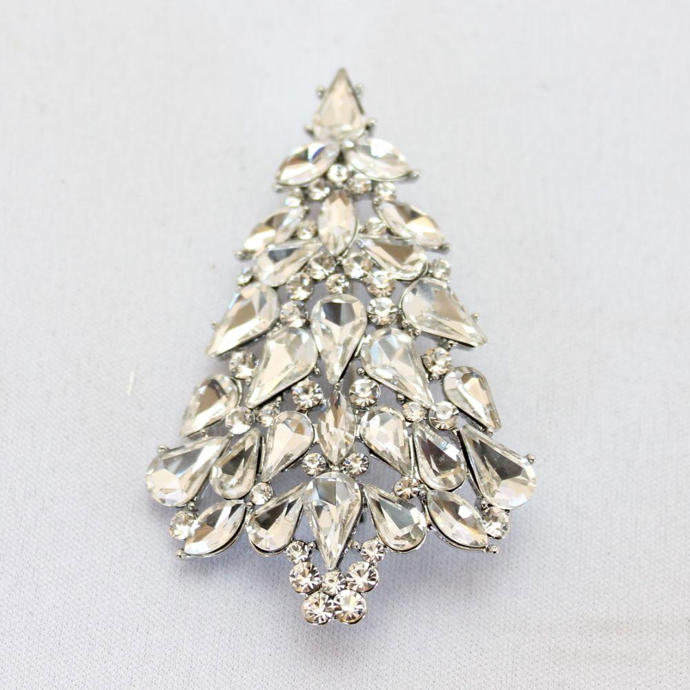 クリスマス シルバービジュのツリーブローチ