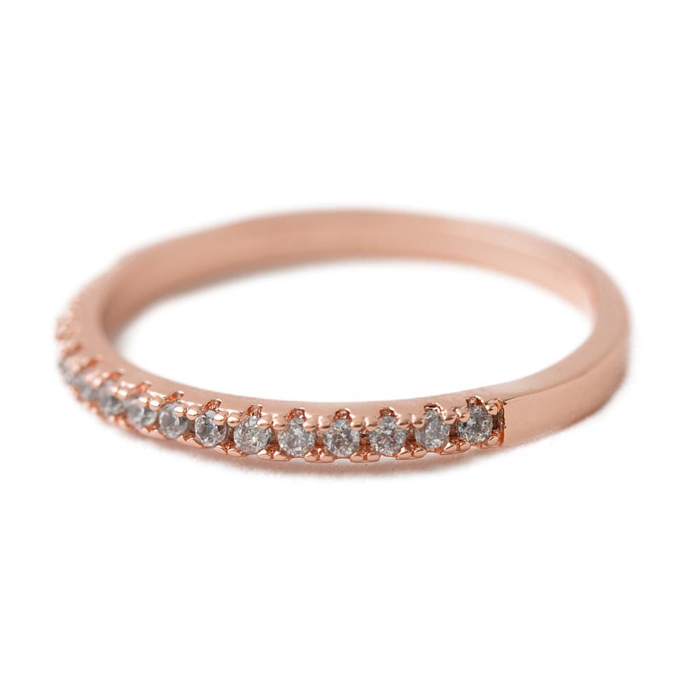 ピンクゴールドのハーフエタニティリング 指輪 N