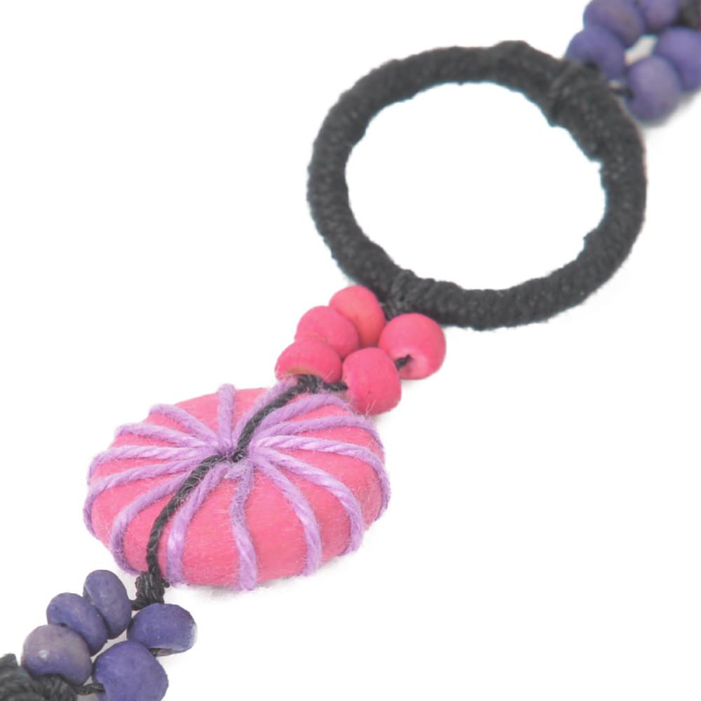 【SALE】ネックレス レディース ウッド ピンク 紫 カラフル 天然素材 アジアン エスニック 異国 N