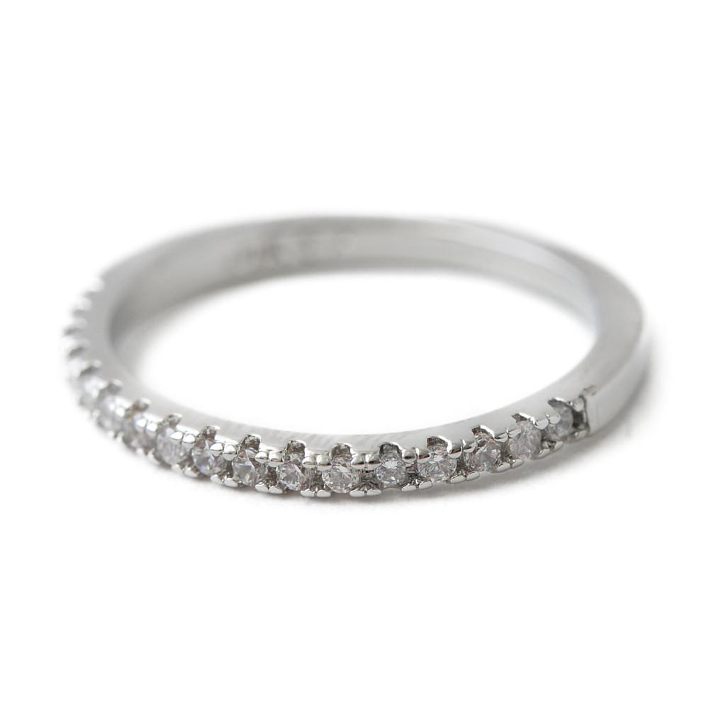 シルバーカラーのハーフエタニティリング 指輪 N