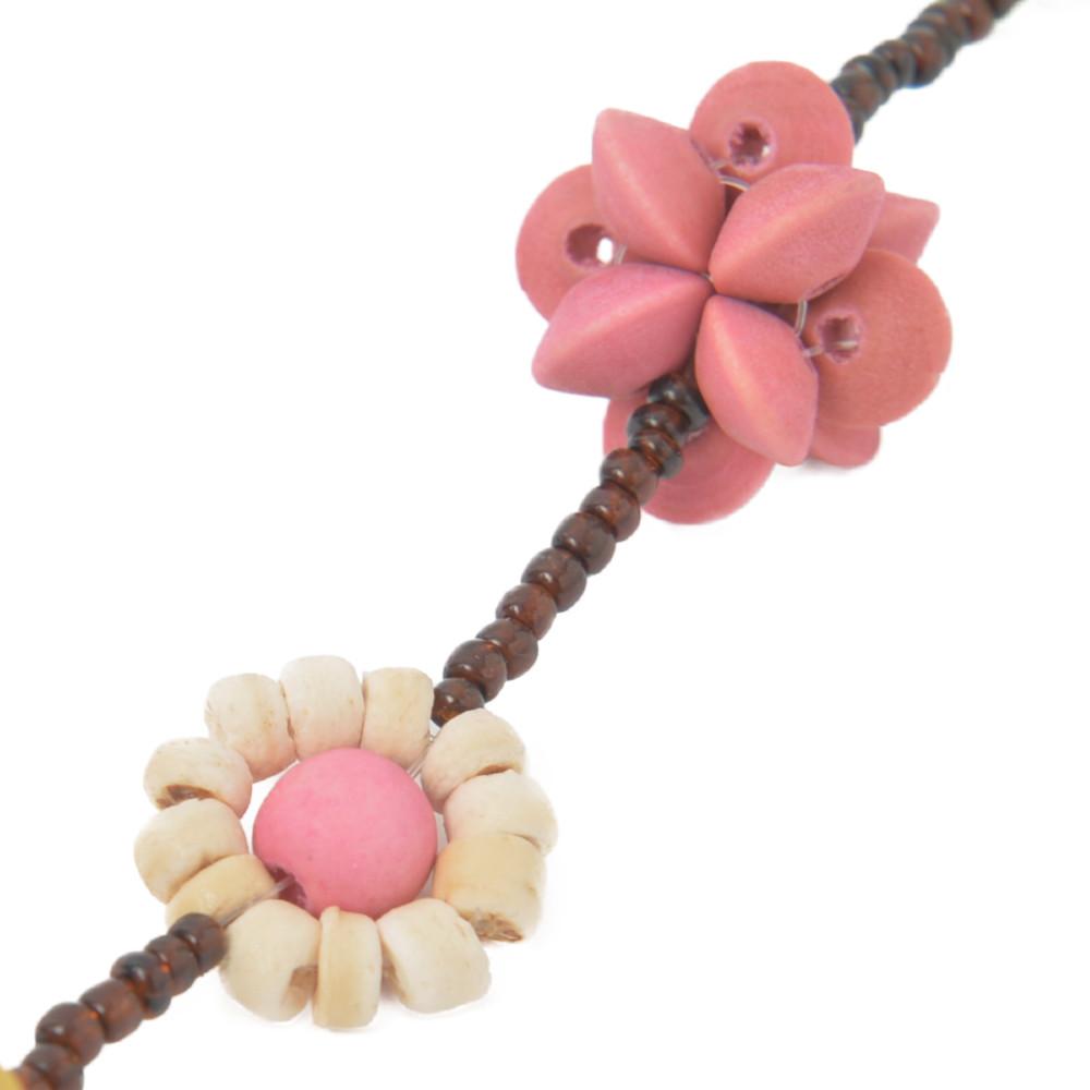 ネックレス レディース ウッド 木 フラワー 花 木の実 きのみ パステルカラー 天然素材 N