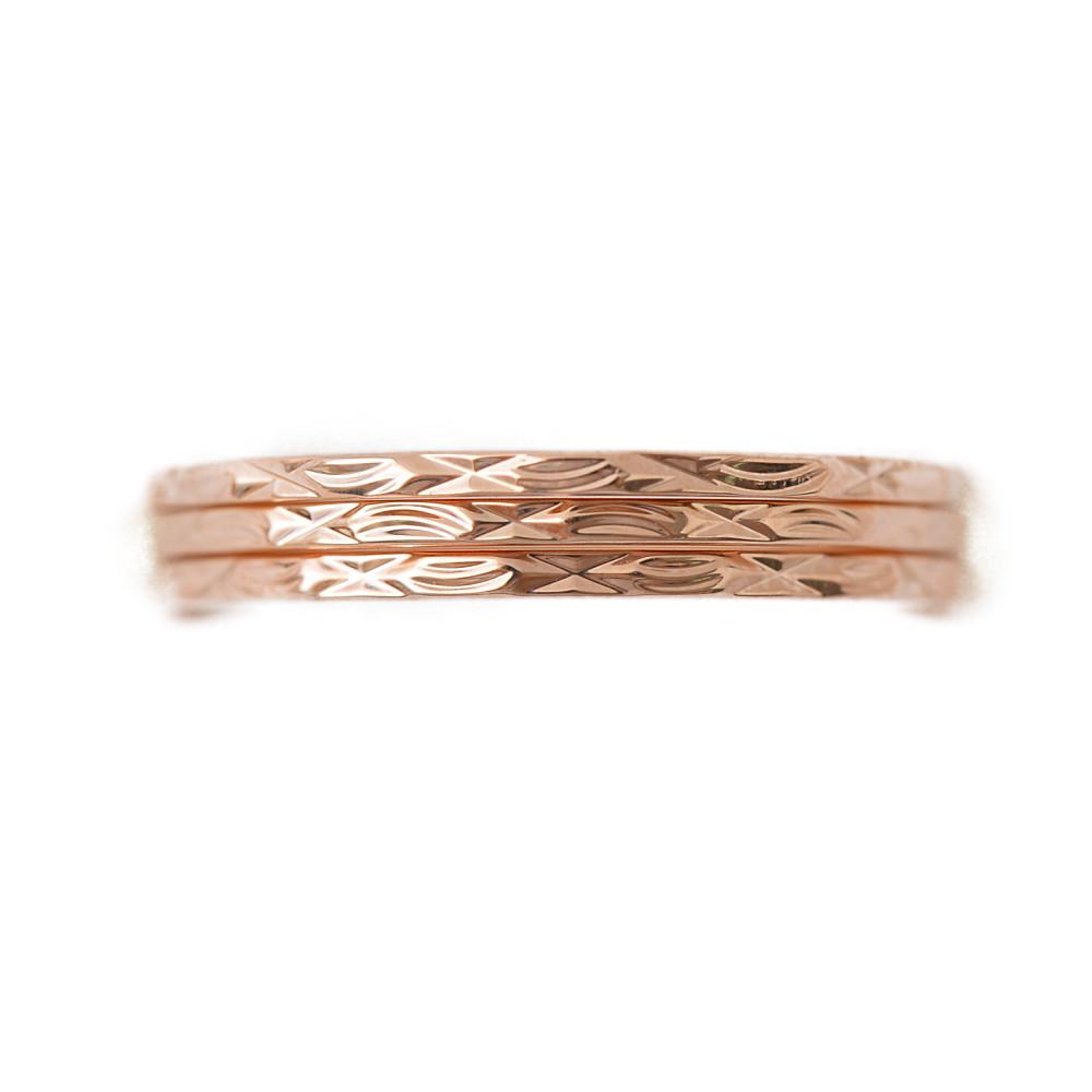 ピンクゴールドの3連デザインリング 指輪 N