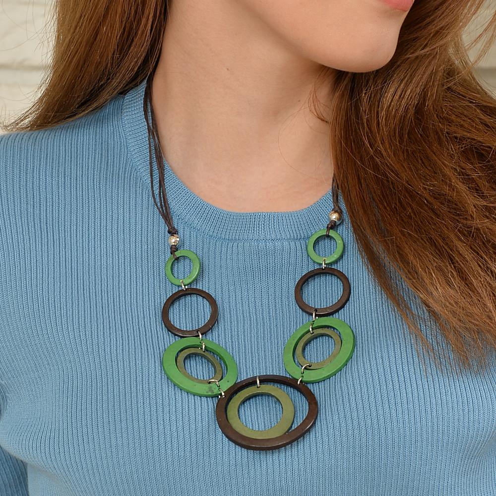 ネックレス レディース ウッド 木 サークル バイカラー 青 ブルー 緑 グリーン 天然素材 N