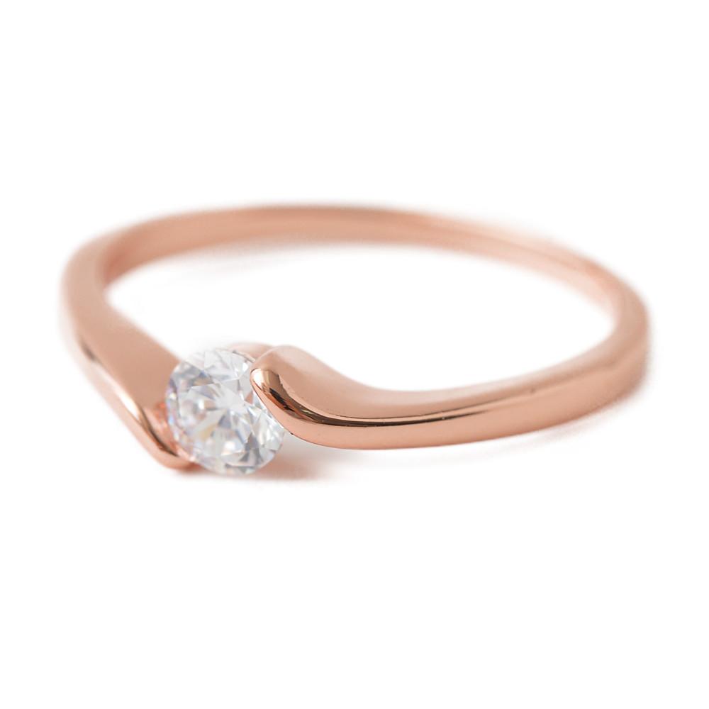 ピンクゴールドの1粒デザインリング 指輪 N
