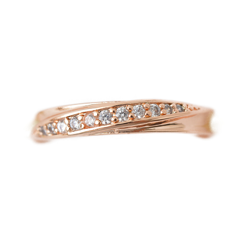 流線デザインのピンクゴールドリング 指輪 N