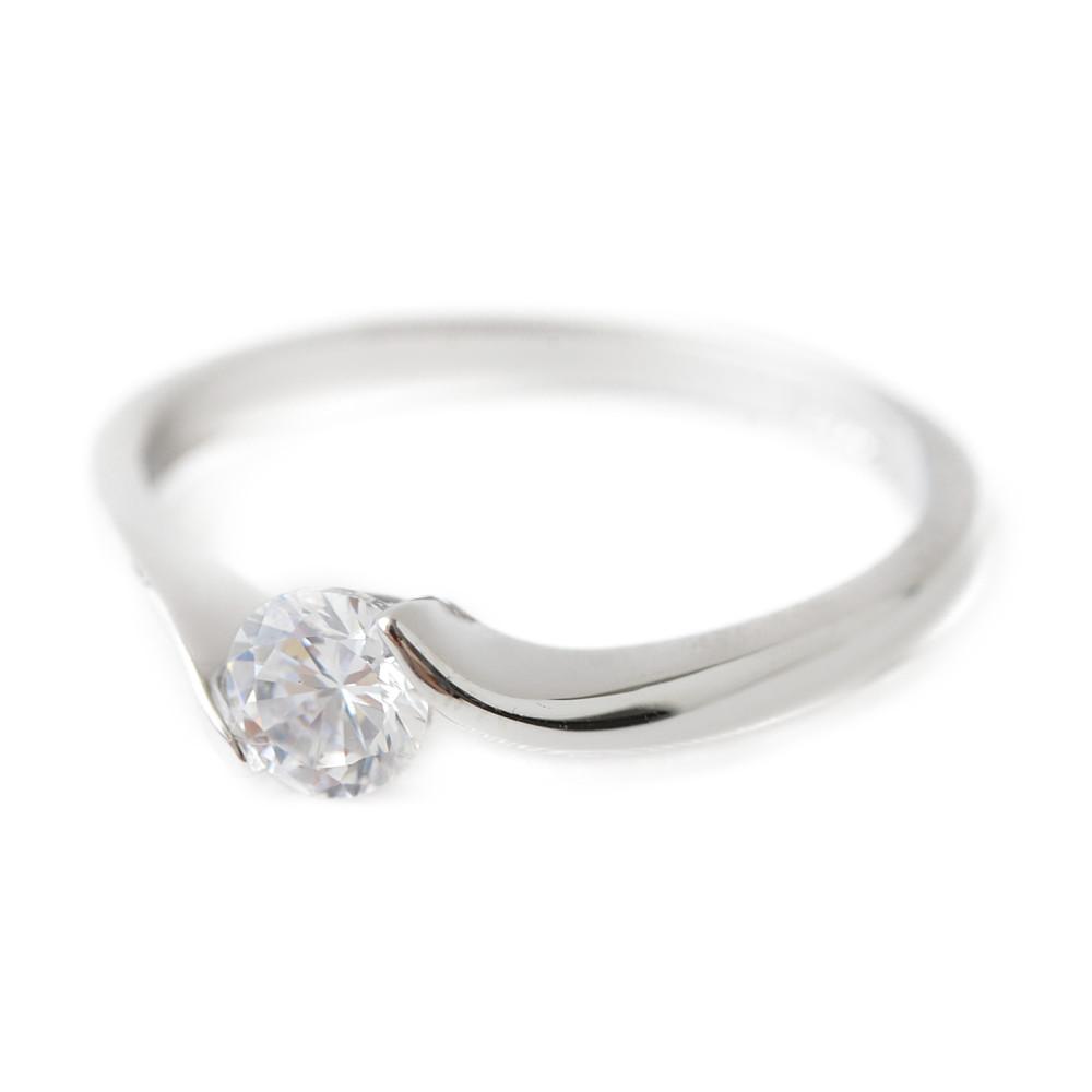 シルバーカラーの1粒デザインリング 指輪 N