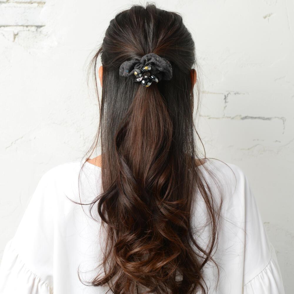 シュシュ ヘアゴム ヘアアクセサリー レディース ヘアアクセ ツイード キラキラ 飾り まとめ髪 H