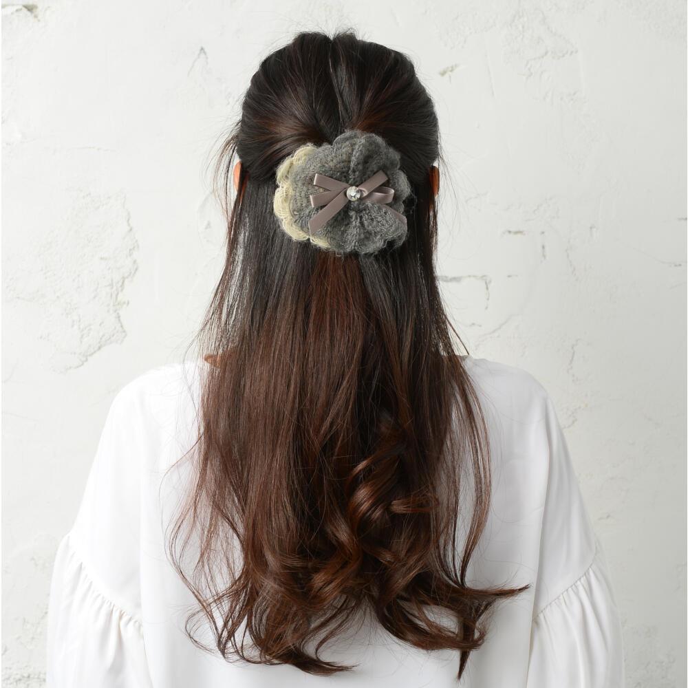 バレッタ ヘアアクセサリー レディース ヘアアクセ ビジュー リボン りぼん ニット まとめ髪 H